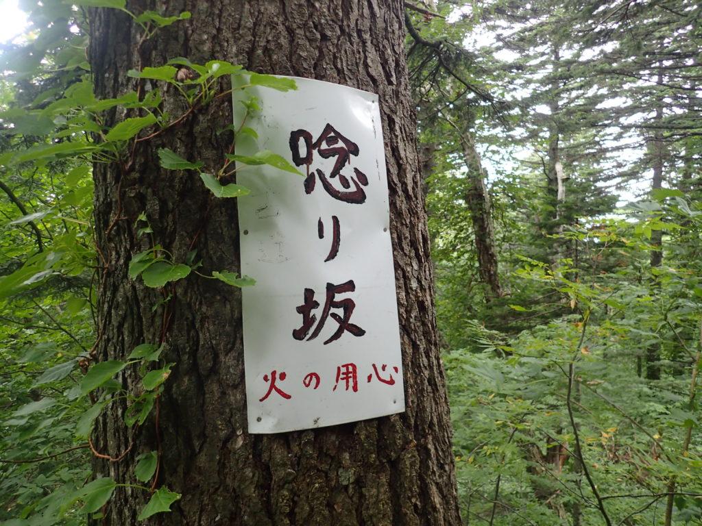 利尻山の甘露水ハイキングコースの唸り坂