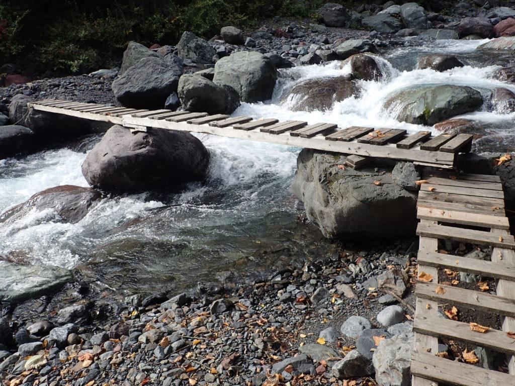 聖岳登山道の西沢渡の橋