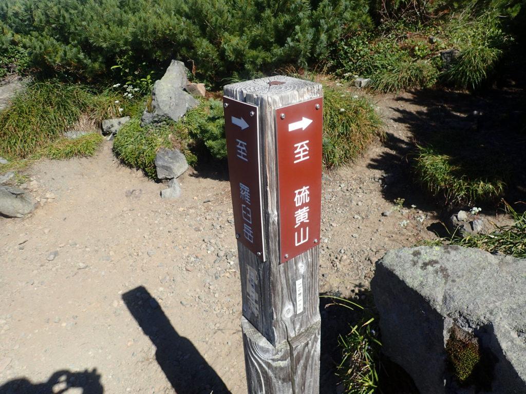 羅臼岳登山道の羅臼平の道標