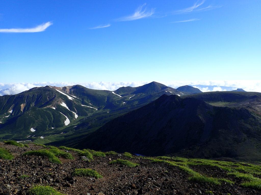 旭岳山頂から見る熊ヶ岳と北鎮座岳方向