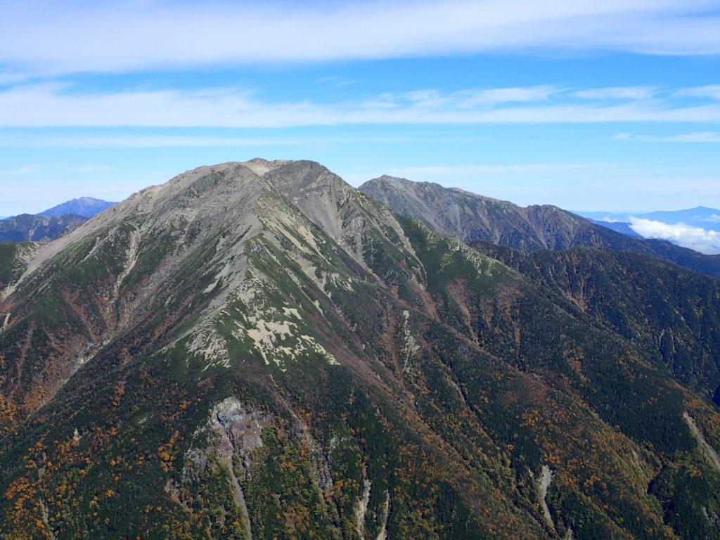 奥聖岳付近から見る赤石岳と悪沢岳