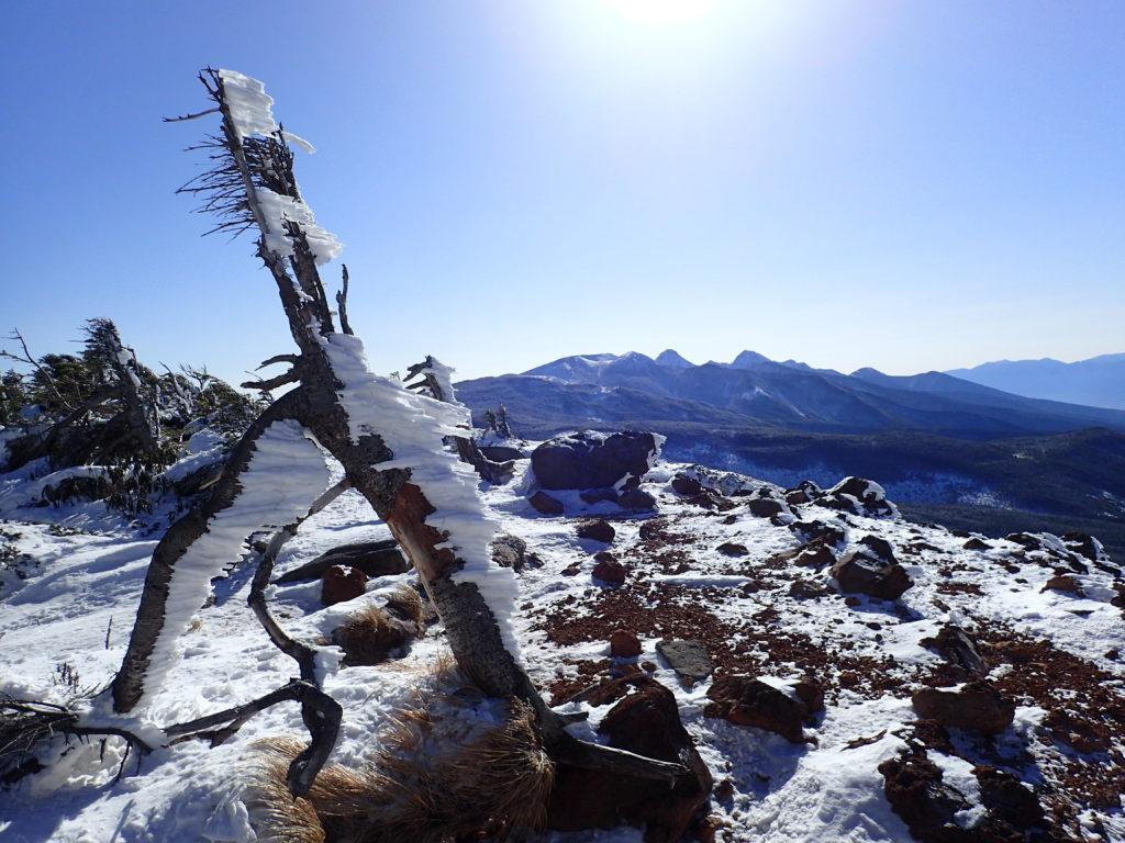 北八ヶ岳の茶臼山展望台からみる八ヶ岳