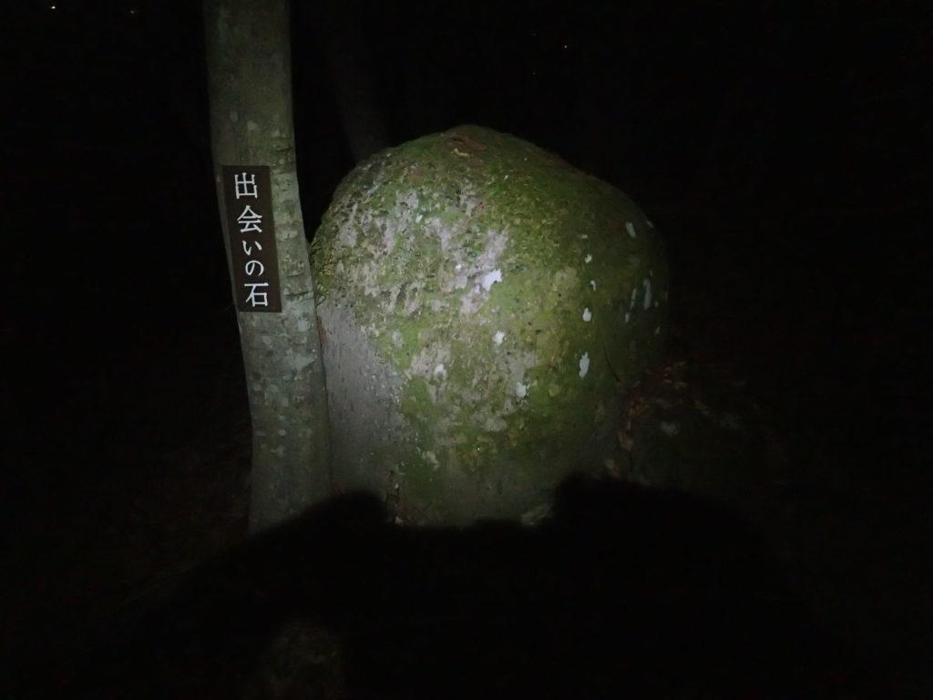 長野県長野市の尼厳山登山道にある出会いの石