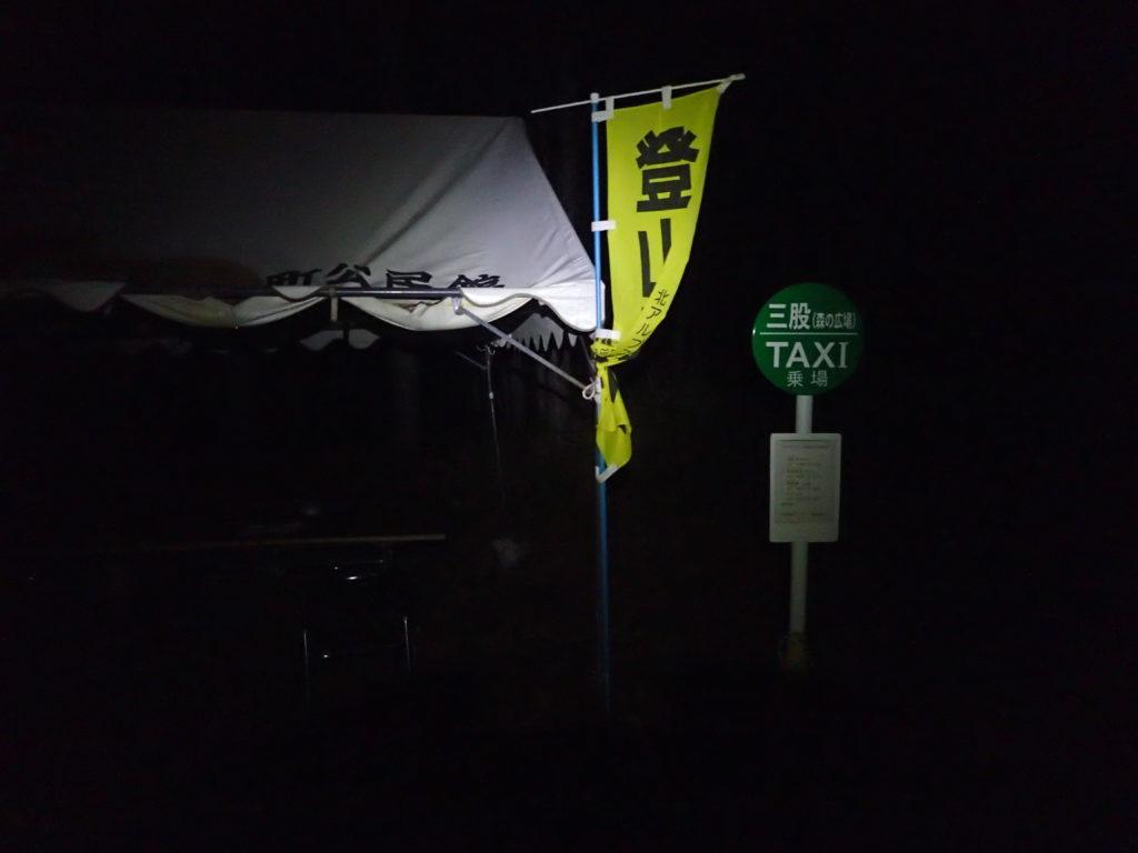 ブラックダイヤモンドの登山用ヘッドライトであるストームの灯りに照らされる三股登山口