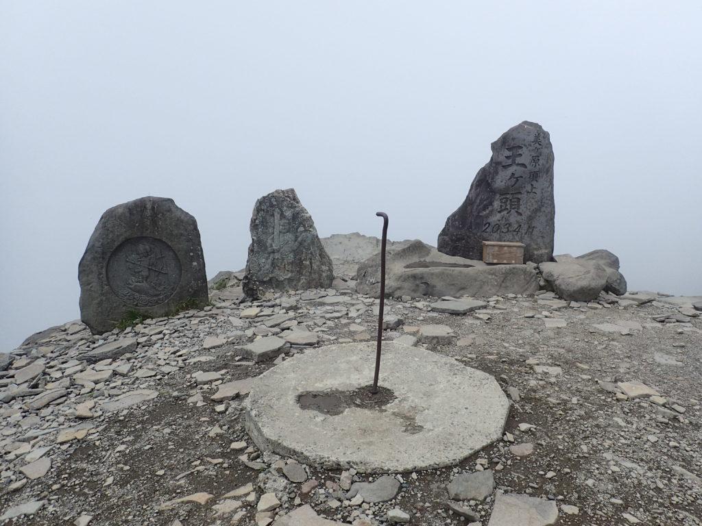 ひと夏での日本百名山全山日帰り登山で撮影した美ヶ原の王ヶ頭の山頂標