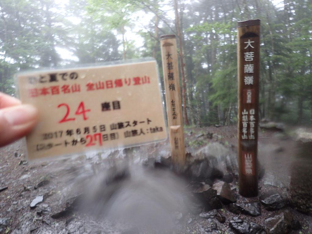 ひと夏での日本百名山全山日帰り登山で登った大菩薩嶺の山頂で自作の登頂カードで記念写真
