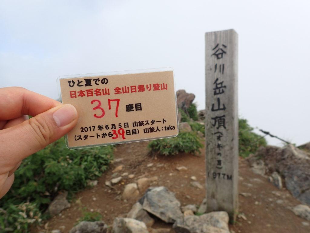 ひと夏での日本百名山全山日帰り登山で登った谷川岳の山頂で自作の登頂カードで記念写真