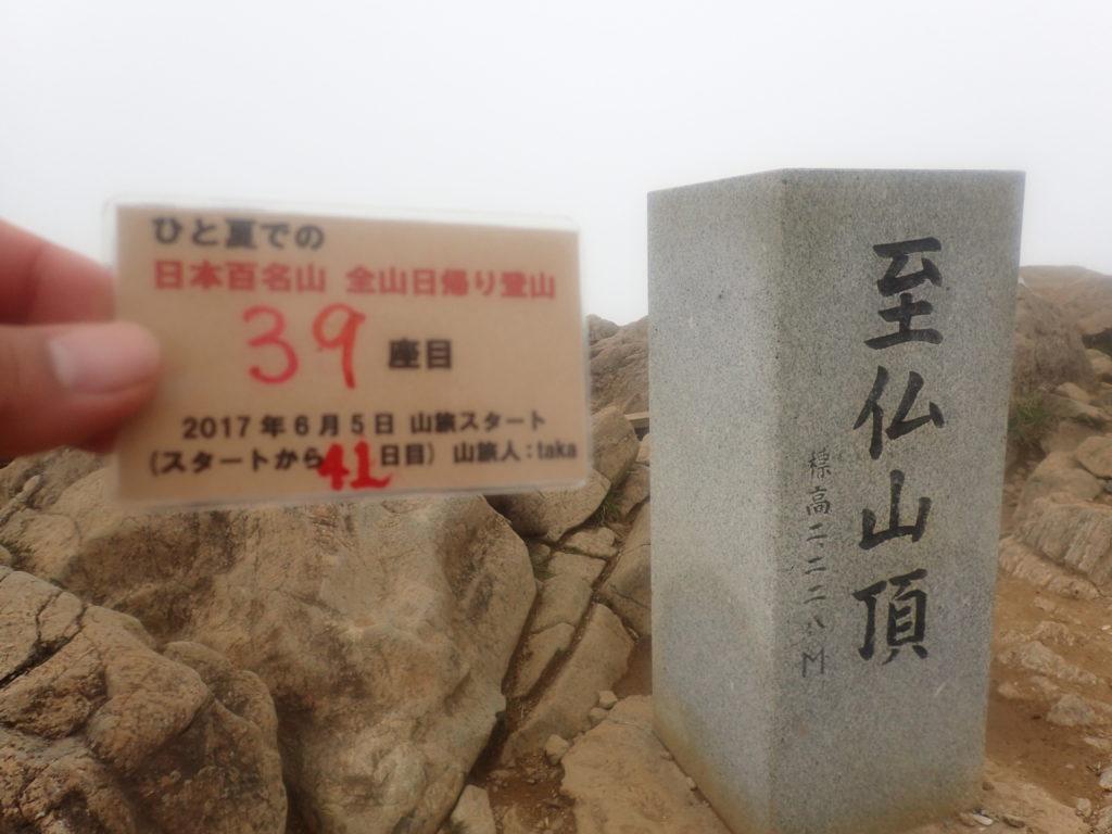 ひと夏での日本百名山全山日帰り登山で登った至仏山の山頂で自作の登頂カードで記念写真