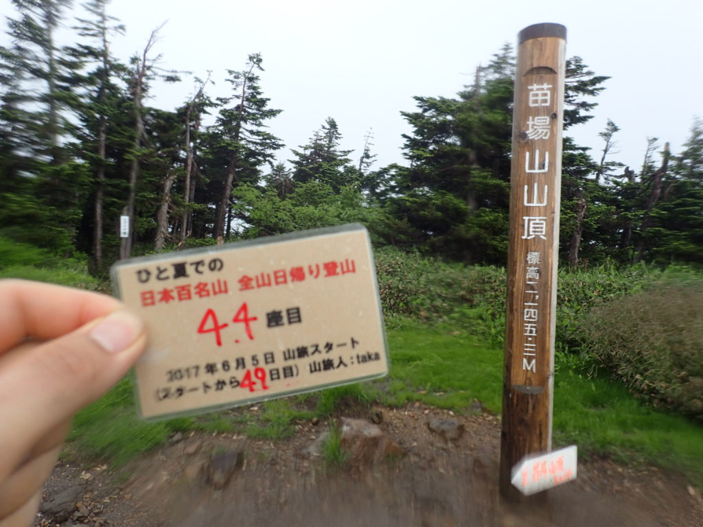 ひと夏での日本百名山全山日帰り登山で登った苗場山の山頂で自作の登頂カードで記念写真