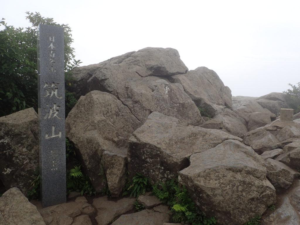 ひと夏での日本百名山全山日帰り登山で撮影した筑波山の山頂標