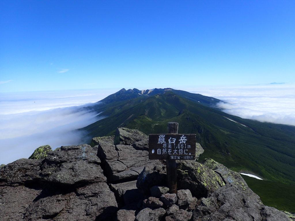 ひと夏での日本百名山全山日帰り登山で撮影した北海道の羅臼岳の山頂標