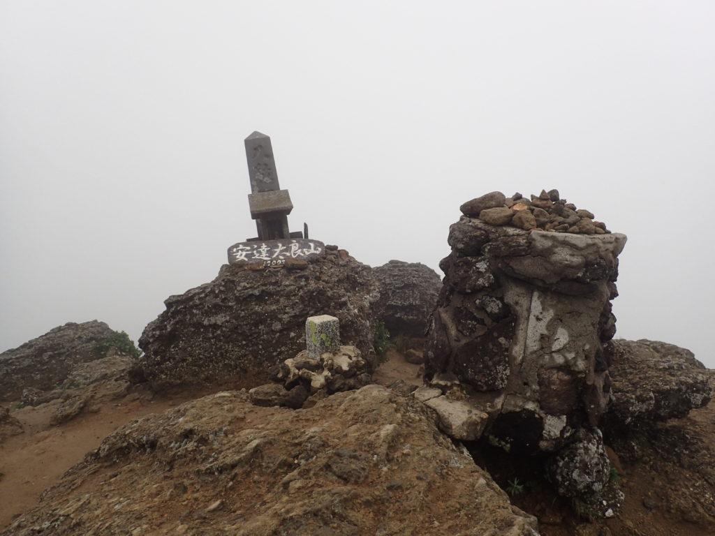 ひと夏での日本百名山全山日帰り登山で撮影した安達太良山の山頂標