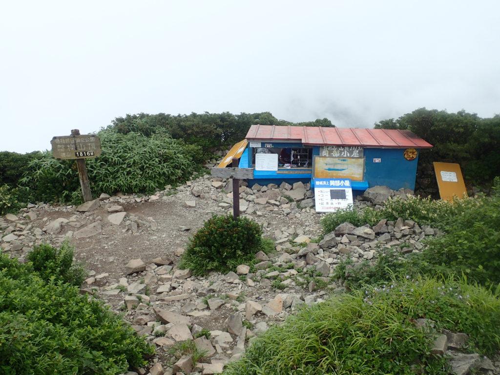 ひと夏での日本百名山全山日帰り登山で撮影した磐梯山の山頂標