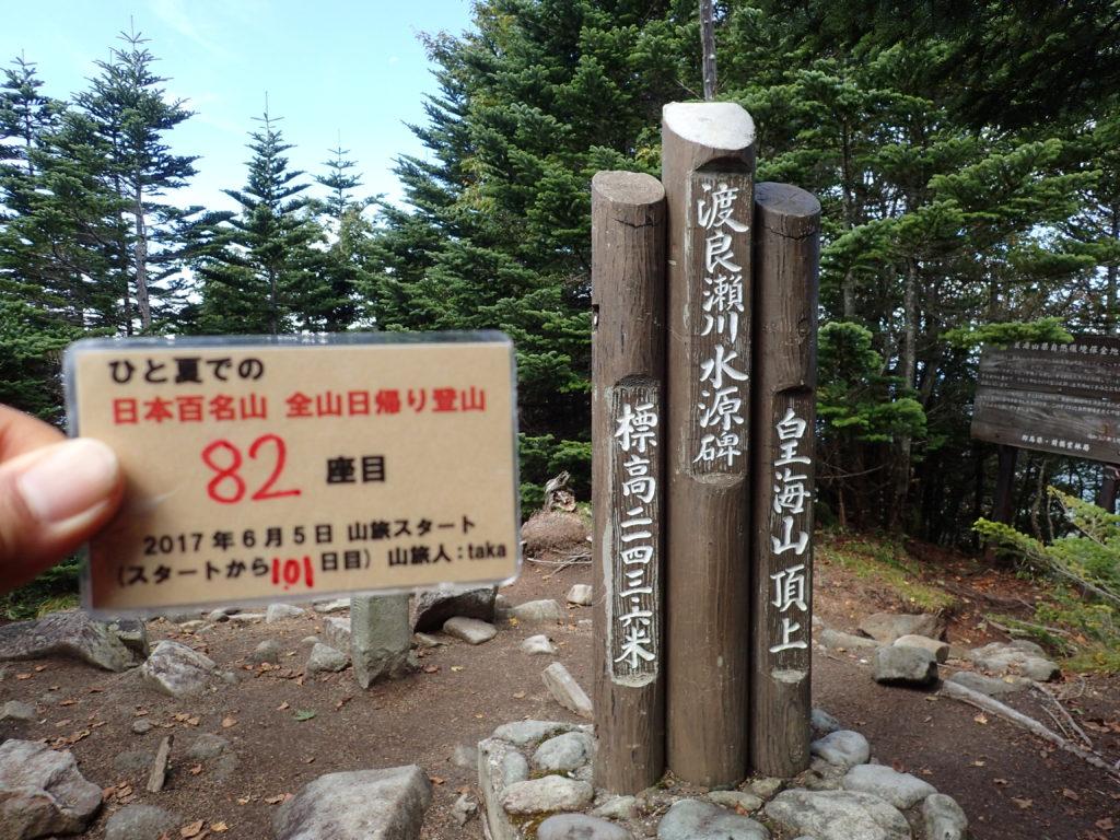 ひと夏での日本百名山全山日帰り登山で登った皇海山の山頂で自作の登頂カードで記念写真