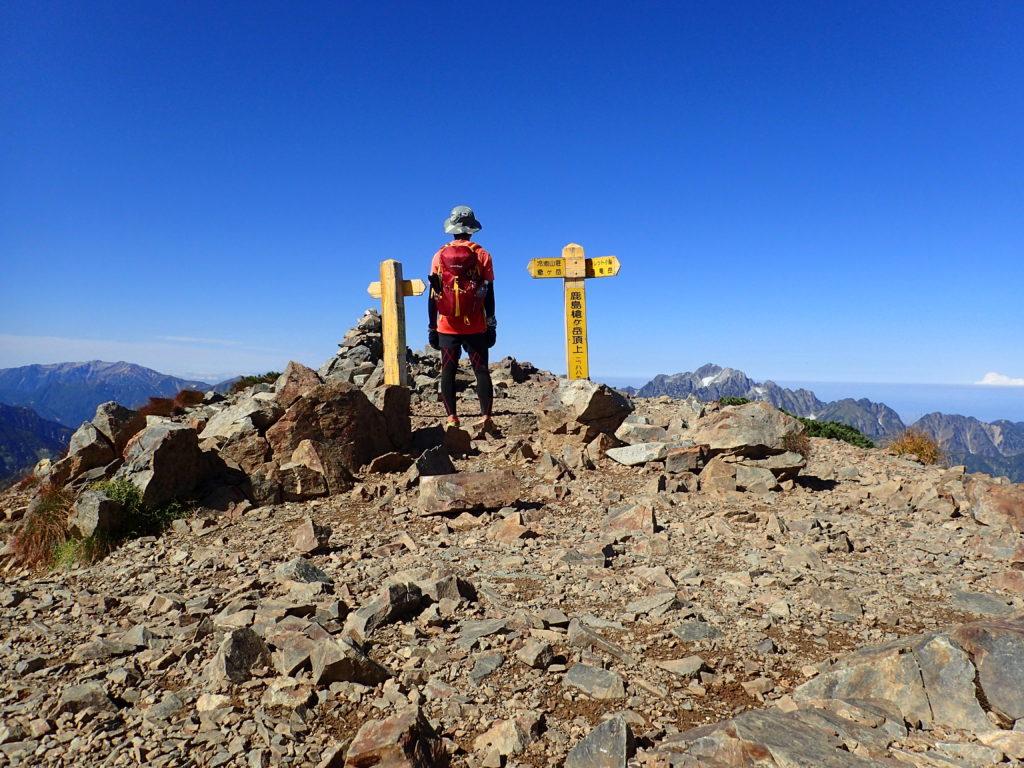 ひと夏での日本百名山全山日帰り登山85座目の鹿島槍ヶ岳の山頂での記念写真