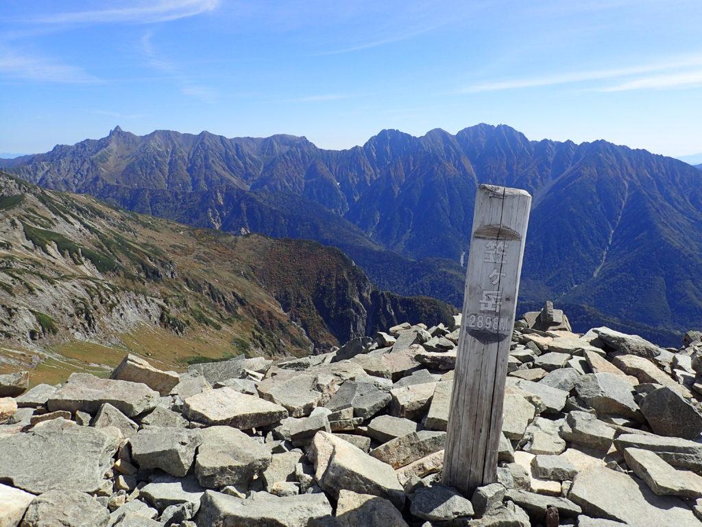 ひと夏での日本百名山全山日帰り登山で撮影した北アルプスの笠ヶ岳の山頂標