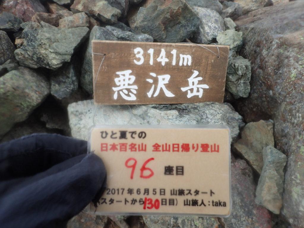ひと夏での日本百名山全山日帰り登山で登った東岳(悪沢岳)の山頂で自作の登頂カードで記念写真