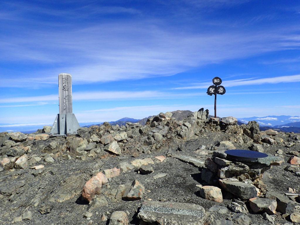 ひと夏での日本百名山全山日帰り登山で撮影した南アルプスの聖岳の山頂標