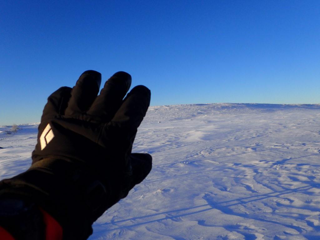 冬の美ヶ原でブラックダイヤモンドの冬用登山グローブであるソロイストの記念撮影