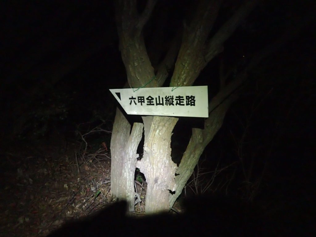白いペナント形の六甲全山縦走路の道標