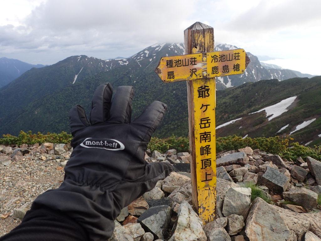 爺ヶ岳南峰頂上でモンベルの登山用グローブであるサンダーパスグローブの記念撮影
