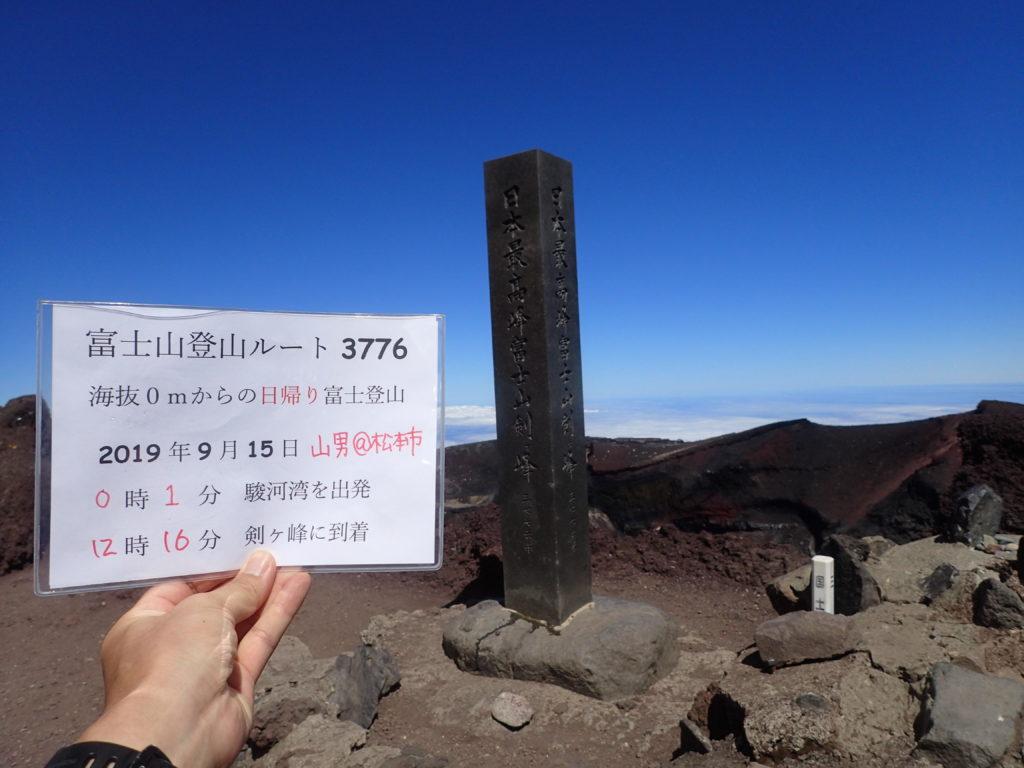 海抜0mからの富士山登山であるルート3776を達成した記念に富士山頂で記念撮影