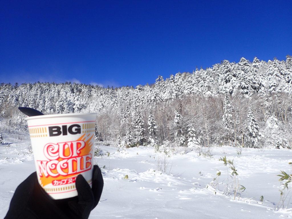 Mt.乗鞍スノーリゾートのゲレンデトップで食べたカップヌードル