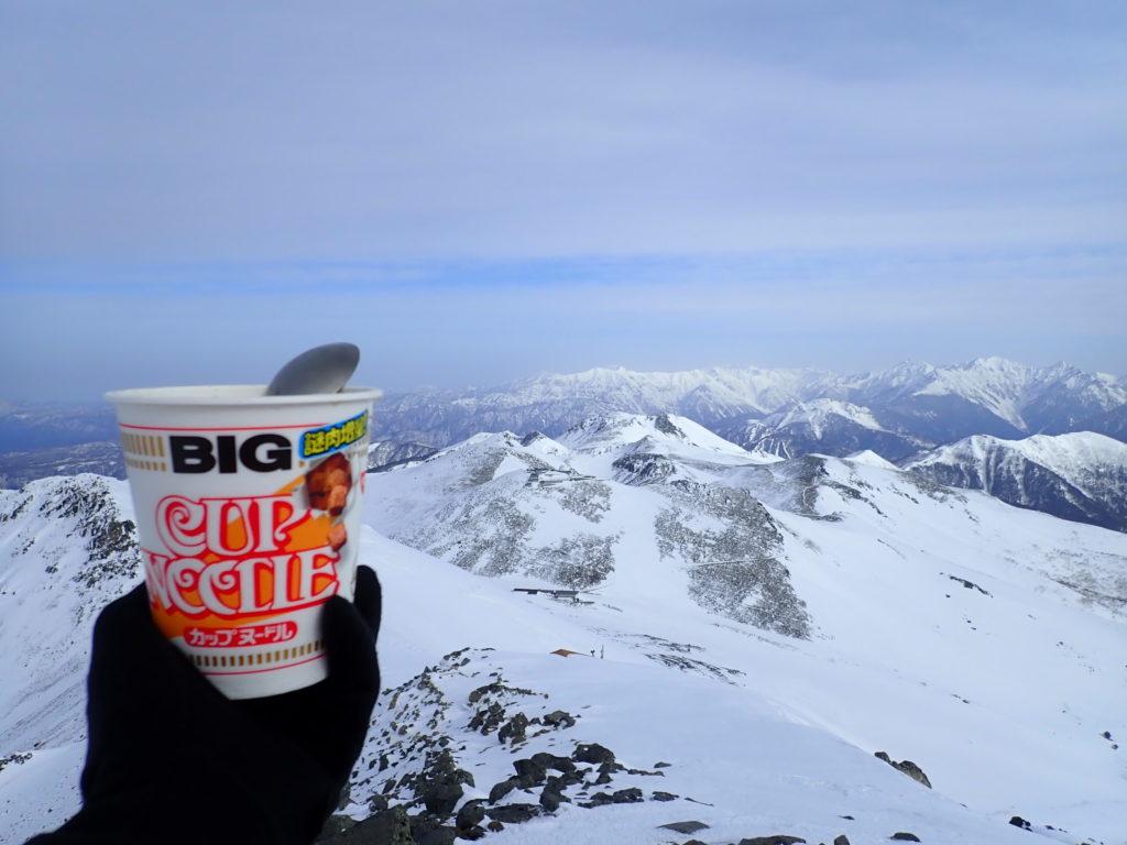 冬の乗鞍岳山頂で食べたカップラーメン