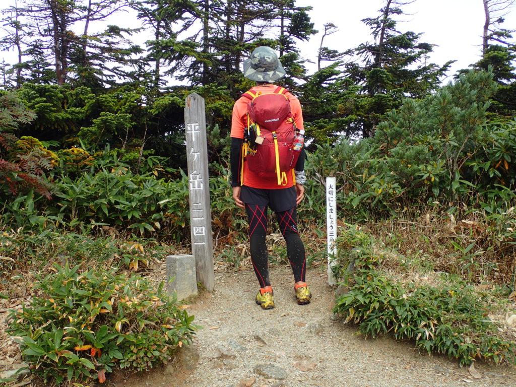 平ヶ岳山頂で登山用タイツにランニングパンツのスタイルで記念写真