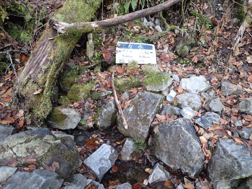 北アルプス蝶ヶ岳の三股ルートにある水場(力水)