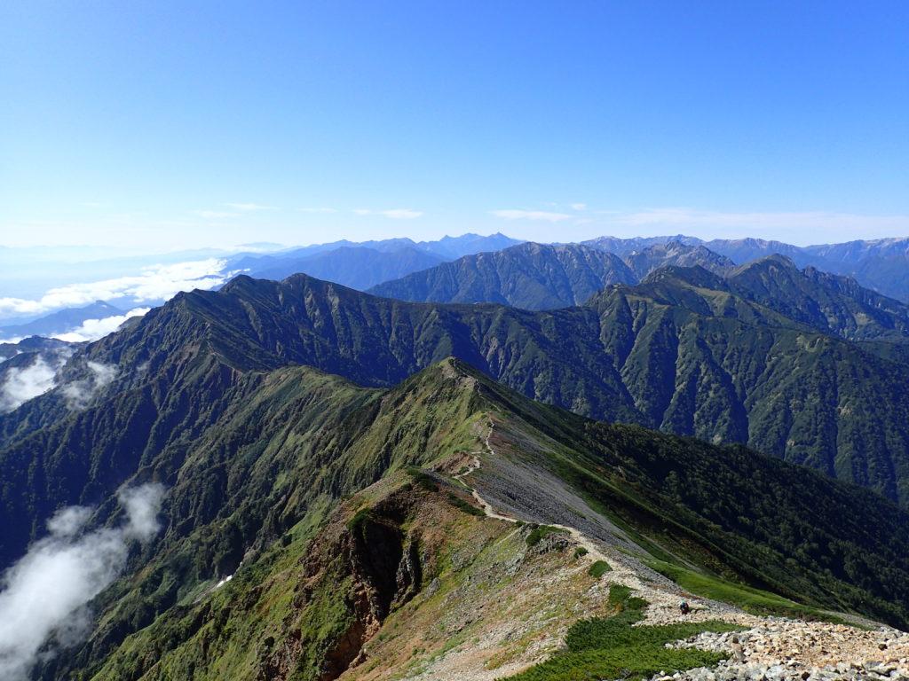 北アルプス爺ヶ岳の稜線を鹿島槍ヶ岳方面から撮影